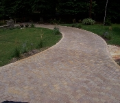 Paver Driveway and Stone Column, Arnold