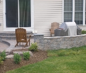 Waterfront Stacked Stone Retaining Walls, Arnold