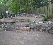 Stone Sitting Wall and Boulder Steps, Chevy Chase