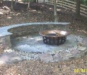 Stacked Stone Sitting Wall with Fire Pit, Davidsonville