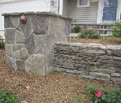 Stacked Stone Wall with Column and Lighting, Crofton