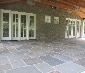 Mortared Cut Flagstone Patio and Stone Facing, Harwood