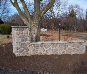 Driveway Entrance Column with Stone Veneer, Ellicott City