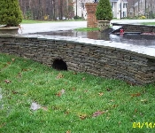 Mortared Flagstone Retaining Wall, Davidsonville
