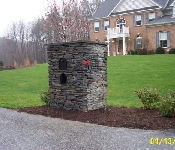 Stacked Stone Mailbox Column, Owings Mills