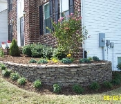Corner Retaining Wall and Landscaping, Davidsonville