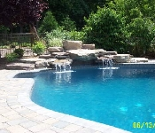 Boulder Waterfall and Paver Pool Deck, Davidsonville