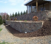 Tiered Retaining Wall with Stone Facing, Owings