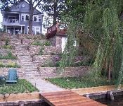 Tiered Stacked Stone Waterfront Retaining Wall, Arnold