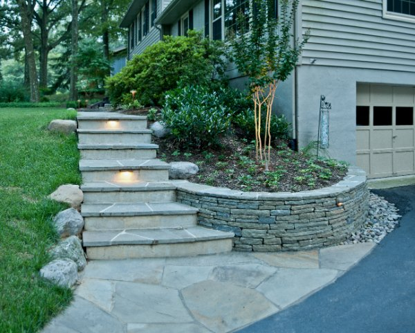 Stacked Stone Wall Cut Flagstone Steps Ciminelli S