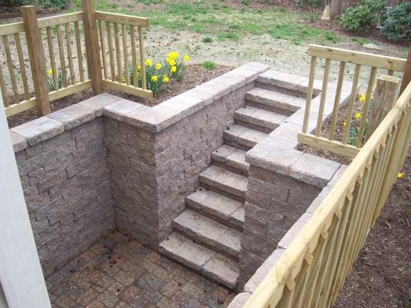 block retaining wall steps pavers railing Ciminellis