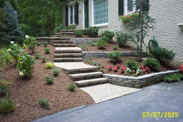 Landscaping With Stone Blocks : Celtik block steps landscaping stacked stone retaining
