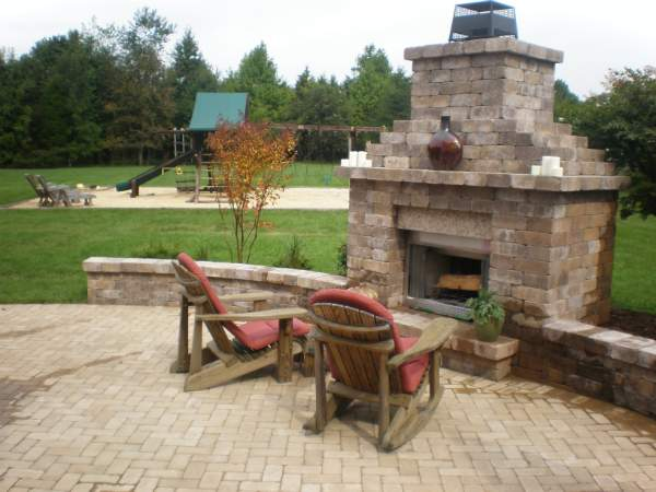 Chimney Outdoor Fireplace Stone Sitting Wall Paver Patio