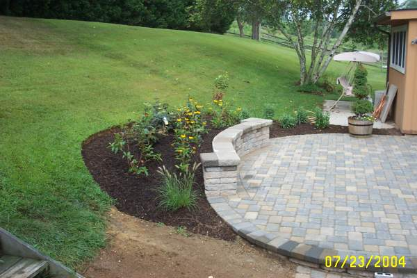 Raised Paver Patio Sitting Wall Landscaping